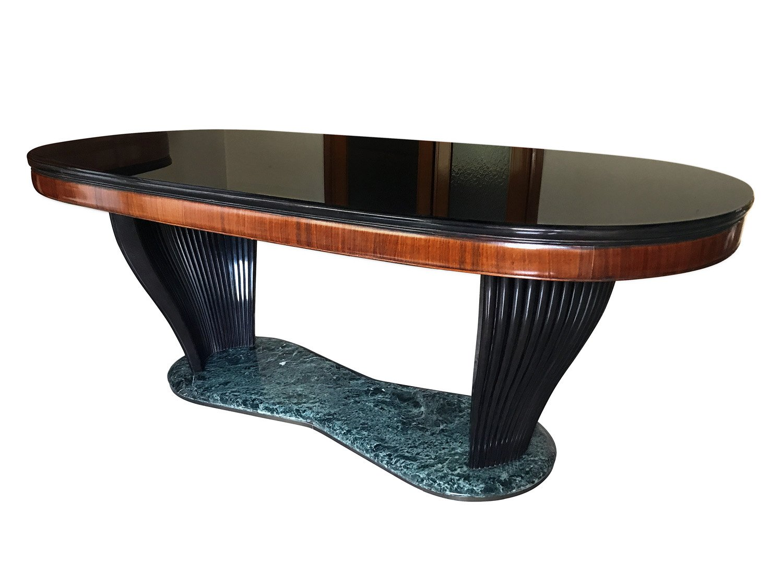 Italienischer Tisch aus Palisander und schwarzem Opalglas von Vittorio...