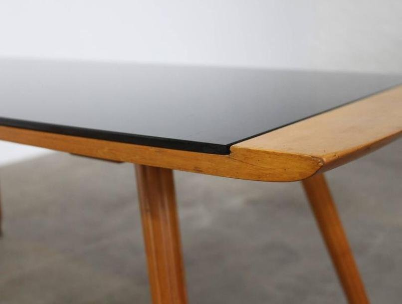 Large Mid Century Italian Coffee Table With Black Glass Top For Sale