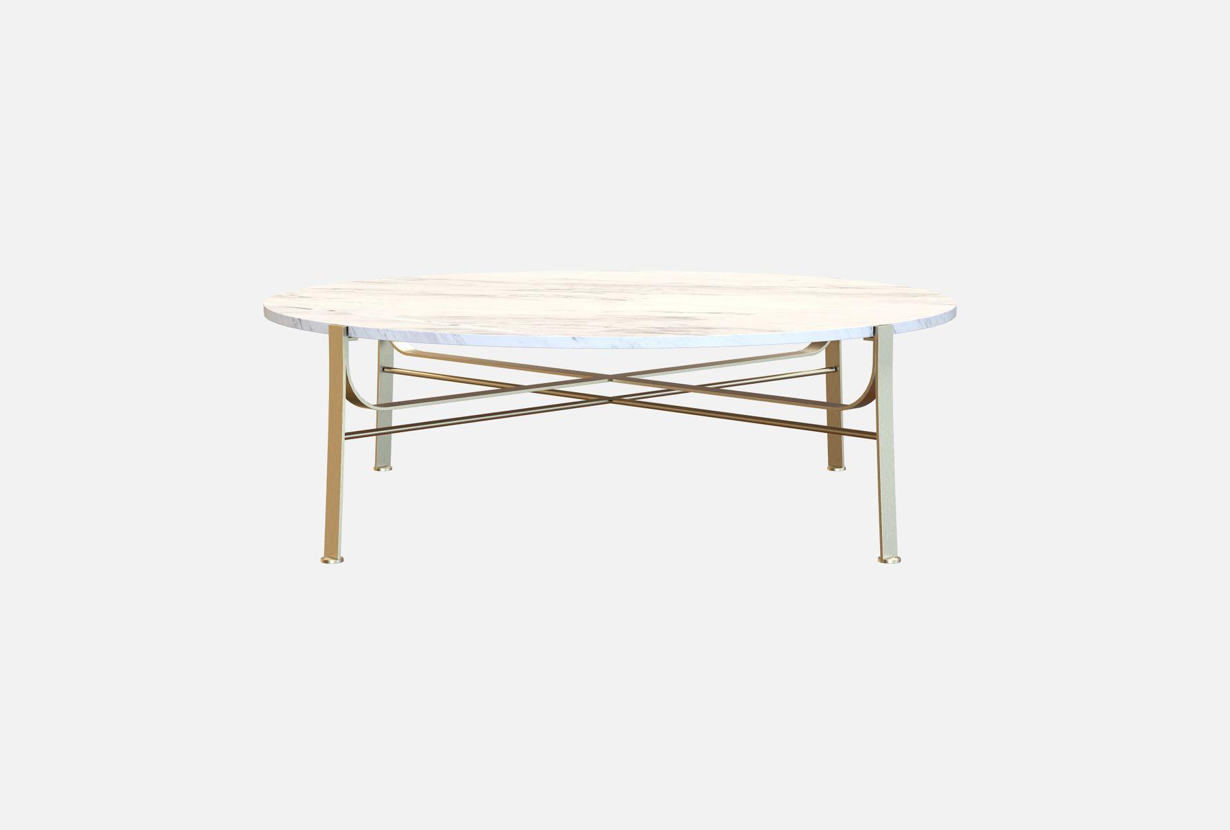 table basse merge en coffee table en acier plaqu laiton et marbre de carrare par alex baser. Black Bedroom Furniture Sets. Home Design Ideas